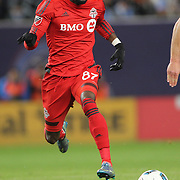 NEW YORK, NEW YORK - November 06:  Tosaint Ricketts  #87 of Toronto FC in action during the NYCFC Vs Toronto FC MLS playoff game at Yankee Stadium on November 06, 2016 in New York City. (Photo by Tim Clayton/Corbis via Getty Images)