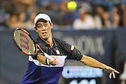 KEI NISHIKORI of Japan plays against James Duckworth of Australia at Day 2 of the Citi Open at the Rock Creek Tennis Center in Washington, D.C.