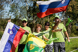 Fans of Slovenia during the Men Under 23 Road Race 179.9km Race from Kufstein to Innsbruck 582m at the 91st UCI Road World Championships 2018 / RR / RWC / on September 28, 2018 in Innsbruck, Austria.  Photo by Vid Ponikvar / Sportida