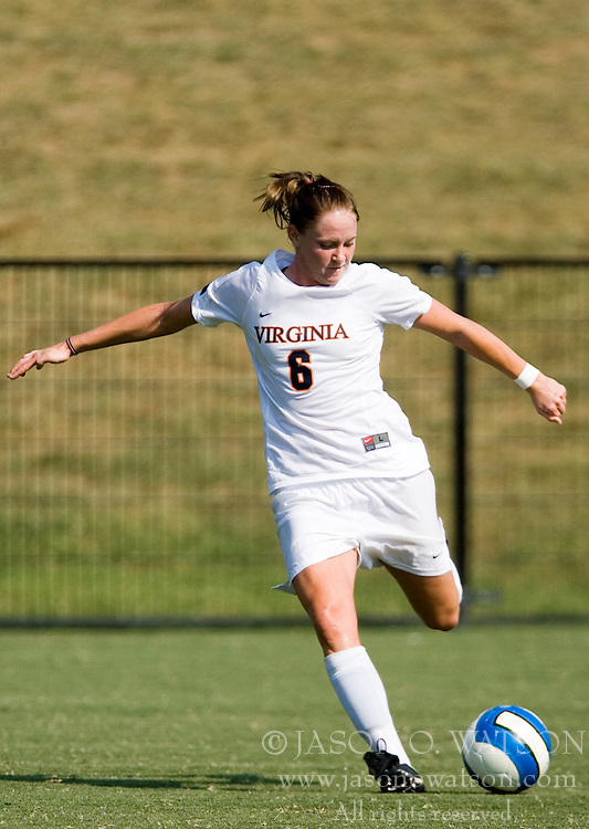 Virginia Cavaliers M Julia Falk (6)..The Virginia Cavaliers women's soccer team defeated the William and Mary Tribe 1-0 in double overtime at Klockner Stadium in Charlottesville, VA on September 23, 2007.
