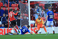 Josh Lillis saves from Aiden McGeady during the EFL Sky Bet League 1 match between Sunderland and Rochdale at the Stadium Of Light, Sunderland, England on 22 September 2018.