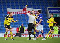 Fleetwood Town's Mark Roberts is shown a yellow card by Referee Patrick Miller<br /> <br /> Photographer Chris Vaughan/CameraSport<br /> <br /> Football - The Football League Sky Bet League One - Chesterfield v Fleetwood Town - Saturday 28th February 2015 - Proact Stadium - Chesterfield<br /> <br /> © CameraSport - 43 Linden Ave. Countesthorpe. Leicester. England. LE8 5PG - Tel: +44 (0) 116 277 4147 - admin@camerasport.com - www.camerasport.com