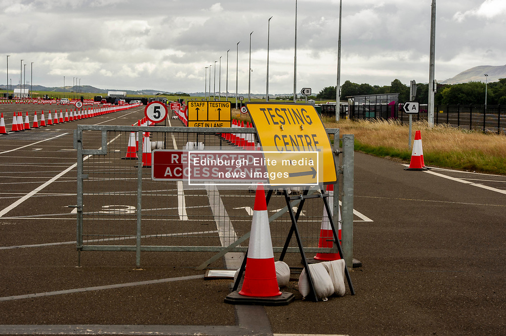 Pictured: <br /> Normally near the end of the school holidays Edinburgh Airport would be buzzing with travelers returning or heading off for a late break.  Not this year as the restrictions imposed due to Covid 19 persuading travelers to change their plans.  The airport does have a testing station on site (three minutes from the terminal) but it did not seem to be busy today.<br /> <br /> Ger Harley   EEm 29 July 2020