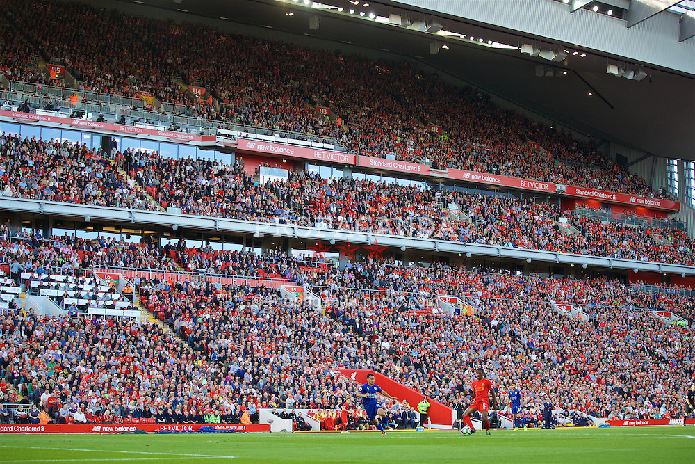 LIVERPOOL, ENGLAND - Saturday, September 10, 2016: Supporters in Liverpool new Main Stand during the FA Premier League match against Leicester City at Anfield. (Pic by David Rawcliffe/Propaganda)