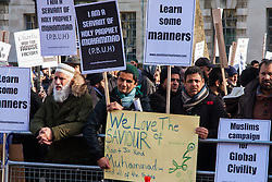 "London, February 8th 2015. Muslims demonstrate outside Downing Street  ""to denounce the uncivilised expressionists reprinting of the cartoon image of the Holy Prophet Muhammad""."