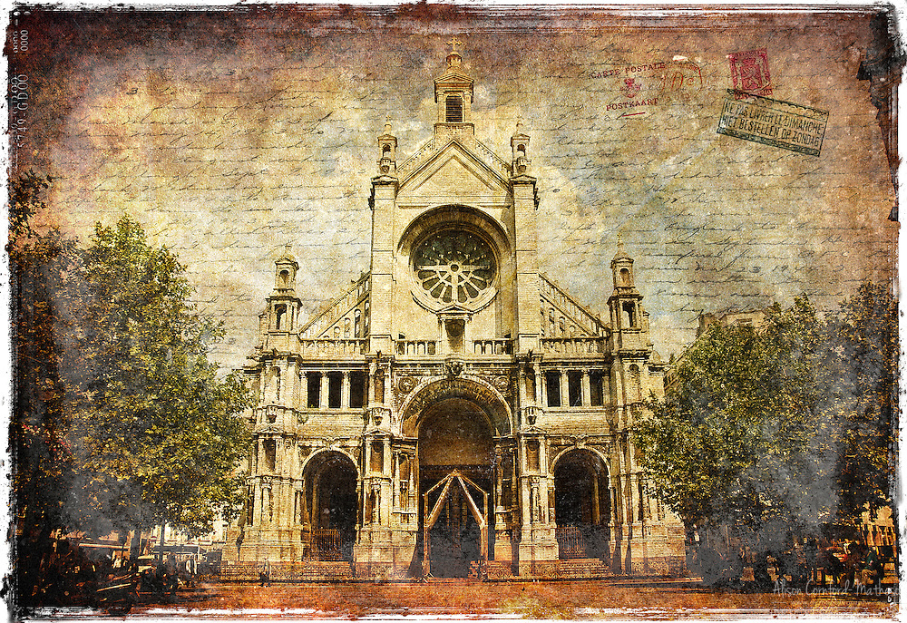 Sainte Catherine Church (Sepia), Brussels, Belgium - Forgotten Postcard