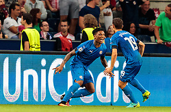 24.08.2016, Red Bull Arena, Salzburg, AUT, UEFA CL, FC Red Bull Salzburg vs Dinamo Zagreb, Play off, Rueckspiel, im Bild Torjubel Zagreb nach dem 1:1 Ausgleichstreffer durch Junior Fernandes (GNK Dinamo Zagreb) // Goal Celebration Zagreb after the 1: 1 equalizer by Junior Fernandes (GNK Dinamo Zagreb) during the UEFA Championsleague Play off 2nd Leg Match between FC Red Bull Salzburg and Dinamo Zagreb at the Red Bull Arena in Salzburg, Austria on 2016/08/24. EXPA Pictures © 2016, PhotoCredit: EXPA/ JFK