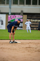 KELOWNA, CANADA - JUNE 28: NHL Montreal Canadiens Shea Weber stands on second base during the opening charity game of the Home Base Slo-Pitch Tournament fundraiser for the Kelowna General Hospital Foundation JoeAnna's House on June 28, 2019 at Elk's Stadium in Kelowna, British Columbia, Canada.  (Photo by Marissa Baecker/Shoot the Breeze)