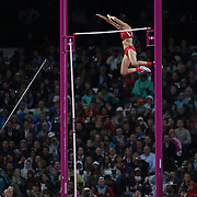Jennifer Suhr, USA, winning the Women's Pole Vault Final with this jump of 4.75m  at the Olympic Stadium, Olympic Park, during the London 2012 Olympic games. London, UK. 4th August 2012. Photo Tim Clayton