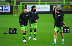 Forest Green Rovers players warms up prior to kick-off- Mandatory by-line: Nizaam Jones/JMP - 03/10/2020 - FOOTBALL - the innocent [insert name here] stadium - Nailsworth, England - Forest Green Rovers v Walsall - Sky Bet League Two