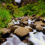 Iao Needle rise sabove the Iao Valley in Iao Valley State Park, Maui, Hawaii.