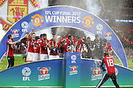 Manchester Utd players celebrate with the trophy at the end of the game.   EFL Cup Final 2017, Manchester Utd v Southampton at Wembley Stadium in London on Sunday 26th February 2017. pic by Andrew Orchard, Andrew Orchard sports photography.