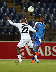 Sbusiso Mbonani of Polokwane City and Evans Rusike of Maritzburg Utd during the 2016 Premier Soccer League match between Maritzburg Utd and Polokwane City held at the Harry Gwala Stadium in Pietermaritzburg, South Africa on the 27th September 2016<br /> <br /> Photo by:   Steve Haag / Real Time Images