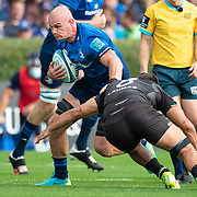 DUBLIN, IRELAND:  October 9:   Rhys Ruddock #8 of Leinster tackled by Renato Giammarioli #8 of Zebre during the Leinster V Zebre, United Rugby Championship match at RDS Arena on October 9th, 2021 in Dublin, Ireland. (Photo by Tim Clayton/Corbis via Getty Images)