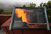 Interpretive sign at Kilauea Iki, Hawaii Volcanoes National Park, Hawaii USA