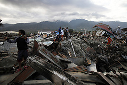 October 6, 2018 - Palu, Central Sulawesi, Indonesia - PALU, INDONESIA - OCTOBER 06, 2018 : A view of Balora village after an earthquake and tsunami hit on October 06, 2018 in Palu, Central Sulawesi Province, Indonesia. (Credit Image: © Sijori Images via ZUMA Wire)