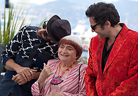 Directors JR and Agnès Varda and composer Matthieu Chedid at the Visages, Villages film photo call at the 70th Cannes Film Festival Friday 19th May 2017, Cannes, France. Photo credit: Doreen Kennedy