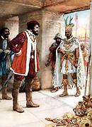 Hernando Cortez or Cortes (1485-1547) Spanish conquistador who conquered Mexico, with Montezuma II, last Aztec emperor, 1519.  Early 20th century book illustration.