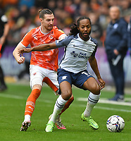 Preston North End's Daniel Johnson battles with Blackpool's James Husband<br /> <br /> Photographer Dave Howarth/CameraSport<br /> <br /> The EFL Sky Bet Championship - Blackpool v Preston North End - Saturday 23rd October 2021 - Bloomfield Road - Blackpool<br /> <br /> World Copyright © 2020 CameraSport. All rights reserved. 43 Linden Ave. Countesthorpe. Leicester. England. LE8 5PG - Tel: +44 (0) 116 277 4147 - admin@camerasport.com - www.camerasport.com