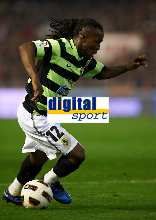 VALENCIA, SPAIN - FEBRUARY 6: Drenthe of Hercules in action during the La Liga match between Valencia CF and Hercules CF at Mestalla Stadium in Valencia on February 6 2011. (Photo by Manuel Queimadelos/SSP / DPPI)