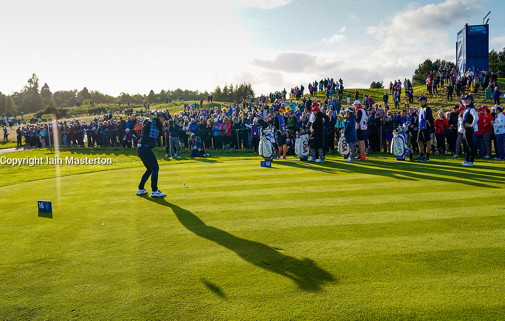 Solheim Cup 2019 at Centenary Course at Gleneagles in Scotland, UK. Suzann Pettersen of Europe drives on 16th Hole during Friday afternoon fourballs.