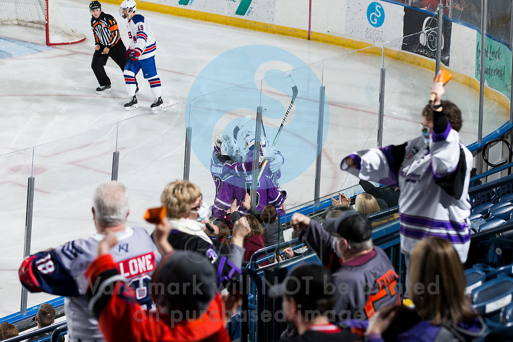 The Youngstown Phantoms defeat Team USA U-18 5-2 at the Covelli Centre on January 30, 2021.<br /> <br /> Mike Brown, defenseman, 2; Bayard Hall, defenseman, 5