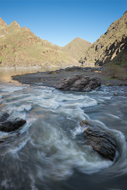 Imnaha River flowing into the Snake River in Hells Canyon on the Oregon/Idaho border.