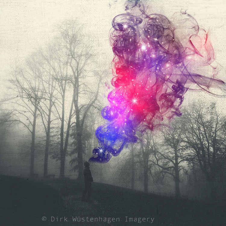 Man in a dark twilight landscape with colourful smoke emanating frome his head - photomanipulation