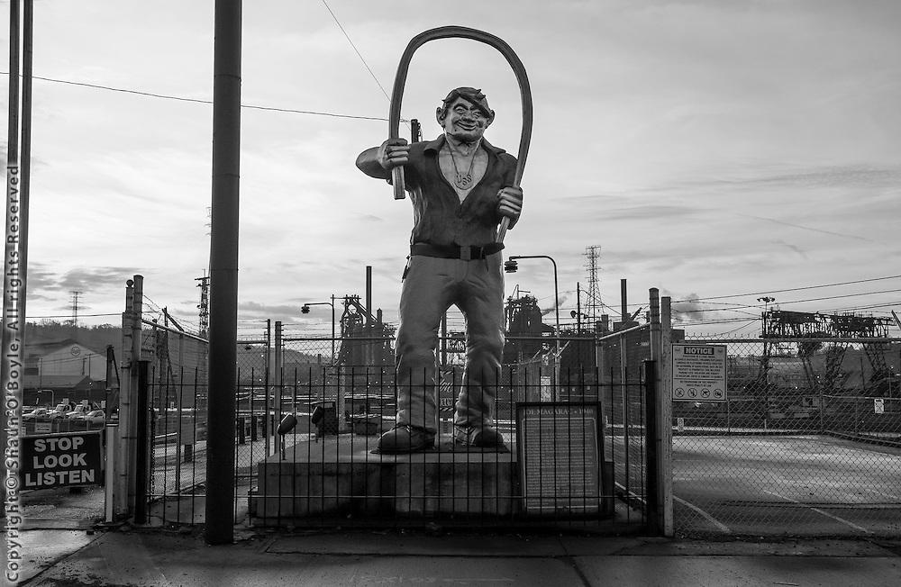 Statue of mythic steel worker Joe Magarac, US Steel, Braddock, PA