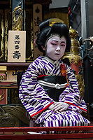 The unique feature of the Hikiyama Festival is that performances of kabuki are performed by children, a rarity in Japan.  There are12 kabuki floats calledhikiyama with a kabuki stage.  Groups of kabuki floats appear in Nagahama's main festival each year.  Yet the performances are usually excellent with the usual Japanese sense of care, professionalism, and putting  a huge community and group effort into the productions.  NagahamaHikiyama Matsuri was inscribed as a UNESCO Intangible Cultural Heritage of Humanity as one ofthe33 Yama Hoo and Yatai Float Festivals in Japan.