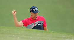 April 7, 2018 - Augusta, GA, USA - Henric Stenson celebrates his bunker shot on the 7th hole during the third round of the Masters Tournament on Saturday, April 7, 2018, at Augusta National Golf Club in Augusta, Ga. (Credit Image: © Jason Getz/TNS via ZUMA Wire)