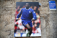 A poster of Chelsea legend Jimmy Floyd Hasselbaink is seen at Stamford Bridge on the week that he has become the new QPR Manager. Barclays Premier league match, Chelsea v AFC Bournemouth at Stamford Bridge in London on Saturday 5th December 2015.<br /> pic by John Patrick Fletcher, Andrew Orchard sports photography.