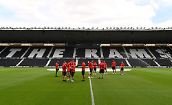 "Southampton platers inspect the pitch before a pre season friendly match at Pride Park, Derby. PRESS ASSOCIATION Photo. Picture date: Saturday July 21, 2018. Photo credit should read: Anthony Devlin/PA Wire. EDITORIAL USE ONLY No use with unauthorised audio, video, data, fixture lists, club/league logos or ""live"" services. Online in-match use limited to 75 images, no video emulation. No use in betting, games or single club/league/player publications."