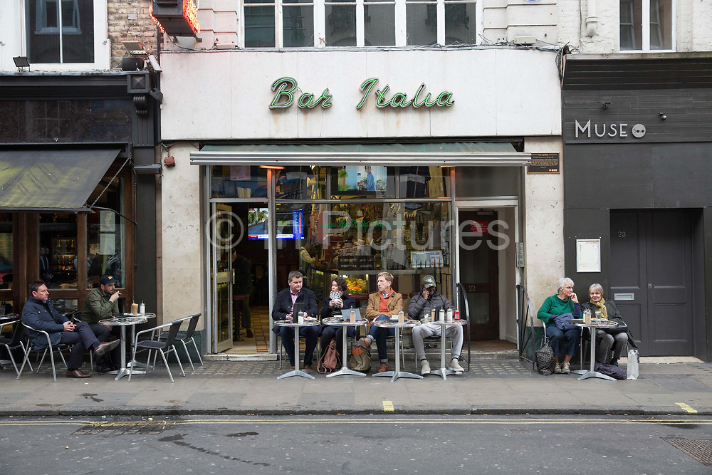 Bar Italia on the 23rd March 2018 in Central London in the United Kingdom. Bar Italia is a popular cafe in Soho, central London