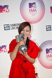 Bibi Zhou, backstage at the winners room at the MTV EMA's 2014, Glasgow, Scotland
