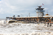 Storm Waves Crashing on the San Clemente Pier in January