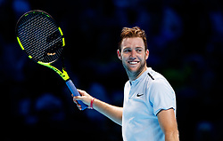 Jack Sock smiling during his match against Marin Cilic during day three of the NITTO ATP World Tour Finals at the O2 Arena, London.