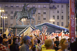 ZAGREB, June 22, 2018  Fans of Croatia watch the group D football match of 2018 FIFA World Cup between Croatia and Argentina at Ban Josip Jelacic Square in Zagreb, Croatia, on June 21, 2018. Croatia won 3-0. (Credit Image: © Gao Lei/Xinhua via ZUMA Wire)