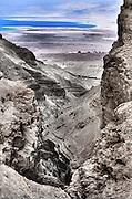 Israel, Dead Sea landscape view from Judea desert