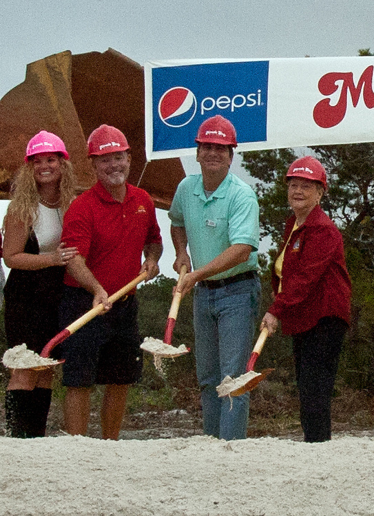 Miracle Strip Pier Park owners Teddy and Jennie Meeks join Panama City Beach Mayor Gayle Oberst in breaking ground for the new Miracle Strip expansion