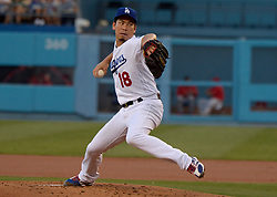 June 27, 2017 - Los Angeles, California, U.S. - Los Angeles Dodgers starting pitcher Kenta Maeda throws to the plate against the Los Angeles Angels in the second inning of a Major League baseball game at Dodger Stadium on Tuesday, June 27, 2017 in Los Angeles. (Photo by Keith Birmingham, Pasadena Star-News/SCNG) (Credit Image: © San Gabriel Valley Tribune via ZUMA Wire)