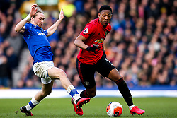 Anthony Martial of Manchester United takes on Tom Davies of Everton - Mandatory by-line: Robbie Stephenson/JMP - 01/03/2020 - FOOTBALL - Goodison Park - Liverpool, England - Everton v Manchester United - Premier League