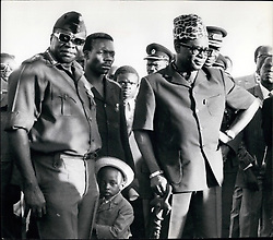 1974 - President Mobutu Sese Seko (r.) currently on a visit to Uganda for talles with president IDI Amin on the Tomzania/Uganda. (Credit Image: © Keystone Pictures USA/ZUMAPRESS.com)