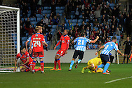 Coventry City defender Aaron Martin celebrates opening goal during the Sky Bet League 1 match between Coventry City and Oldham Athletic at the Ricoh Arena, Coventry, England on 19 December 2015. Photo by Alan Franklin.
