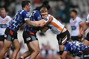 Wests Tigers Luke Garner is tackled in the NRL Trial, Vodafone Warriors v Wests Tigers, Rotorua Stadium, Rotorua, Sunday, March 01, 2020. Copyright photo: Kerry Marshall / www.photosport.nz