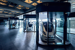 PRT Personal Rapid Transit electric driverless cars at Masdar Institute of Science and Technology in Abu Dhabi United Arab Emirates