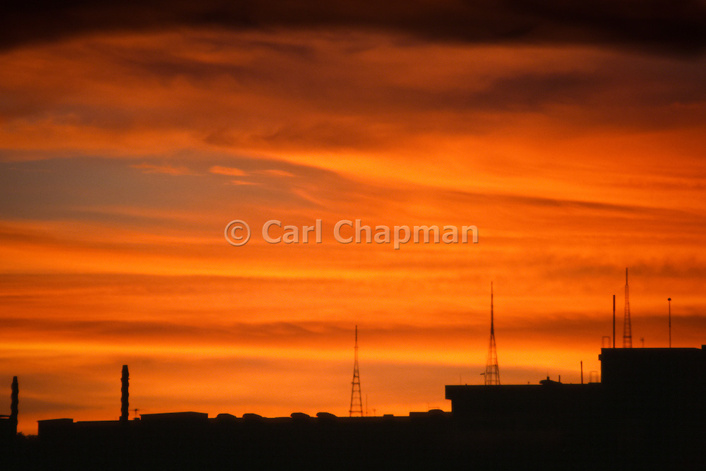 Television broadcast towers at sunset over Brisbane city and Mt Coot-tha - Australia <br /> <br /> Editions:- Open Edition Print / Stock Image