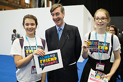 © Licensed to London News Pictures . 02/10/2017. Manchester, UK. JACOB REES-MOGG with supporters of Send my friend to school campaign . The second day of the Conservative Party Conference at the Manchester Central Convention Centre . Photo credit: Joel Goodman/LNP