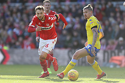 Middlesbrough's Lewis Wing (left) and Leeds United's Kalvin Phillips during the Sky Bet Championship match at The Riverside Stadium, Middlesbrough.