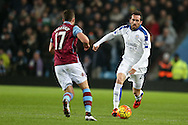 Christian Fuchs of Leicester city ® goes past Jordan Veretout of Aston Villa. Barclays Premier league match, Aston Villa v Leicester city at Villa Park in Birmingham, The Midlands on Saturday 16th January 2016.<br /> pic by Andrew Orchard, Andrew Orchard sports photography.